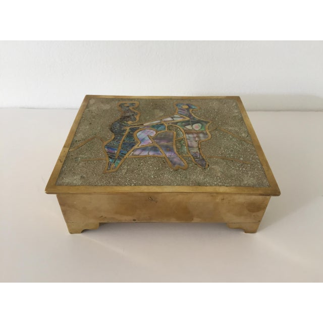 Vintage Taxco Mexican Brass Inlaid Abalone and Rosewood Box For Sale In New York - Image 6 of 6