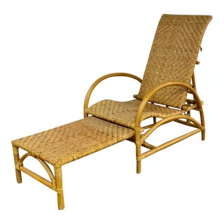 Natural Wicker Lounge Steamer Chair With Pullout Ottoman Extendable Footrest For Sale