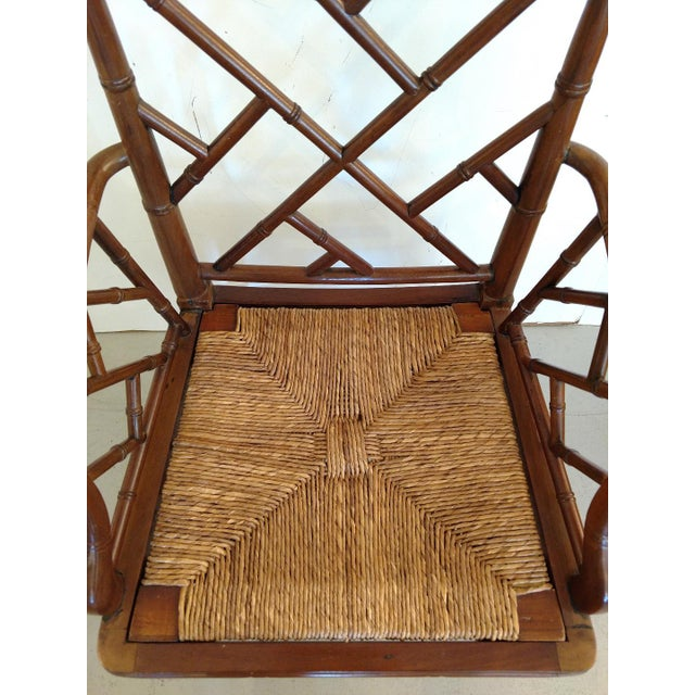 Vintage Chippendale Faux Bamboo Armchair For Sale In Miami - Image 6 of 9