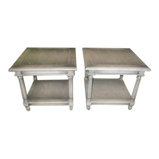 Gray Mahogany Fluted Leg Side Table - a Pair