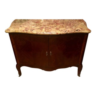 Antique French Inlaid Marble Top Credenza Sideboard by Juan Lanzani For Sale