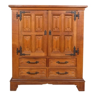 Mid 20th-Century Rustic Carved Panel Bar Cabinet For Sale