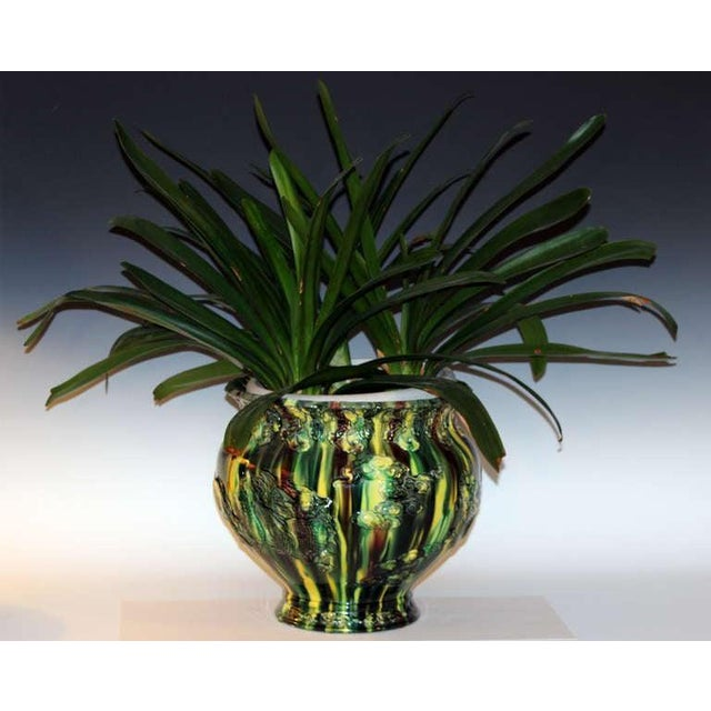 Green Large Awaji Pottery Japanese Sancai Flambe Jardiniere Planter Bowl For Sale - Image 8 of 9