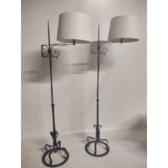 Spanish Hand Wrought Floor Lamps- a Pair For Sale - Image 12 of 13