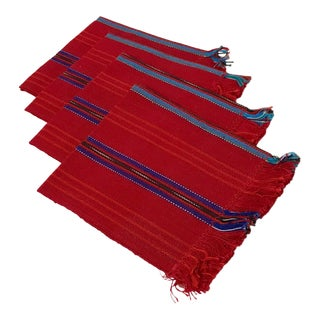 Vintage Boho Woven Red Striped Dinner Napkins - Set of 4 For Sale