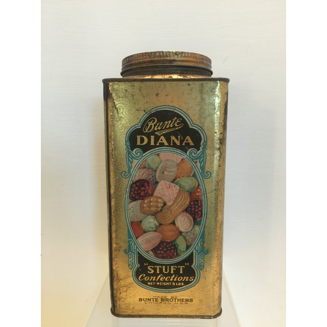 Primitive 1920's Vintage Bunte Brothers Diana Stuft Confections Tin For Sale - Image 3 of 7