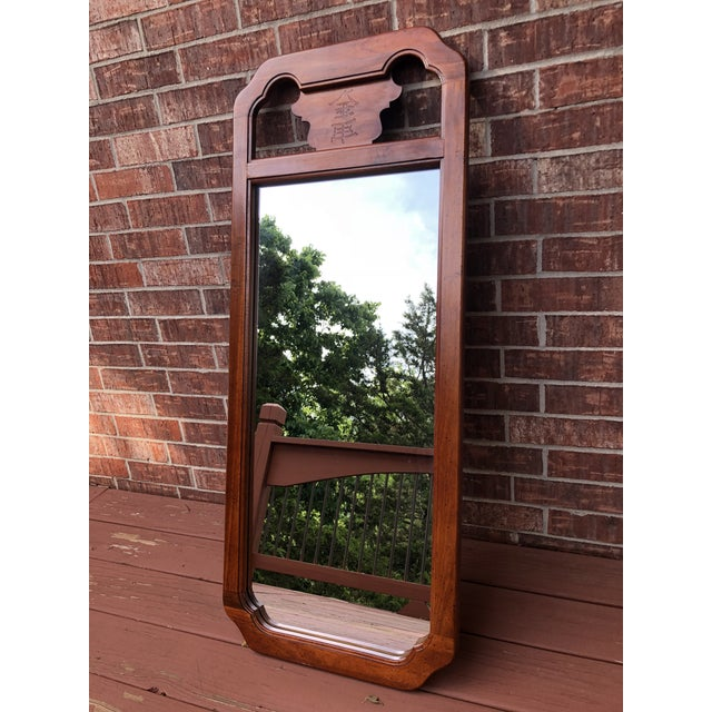 Brown 1970s Chinoiserie Bassett Wood Wall Mirror For Sale - Image 8 of 8