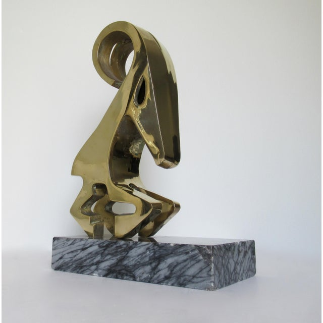 Vintage Mid-Century Large Modernist Brass Ram Sculpture on Marble Slab For Sale - Image 13 of 13