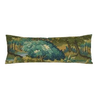 Verdure Print Linen Large Bolster Pillow Cover For Sale