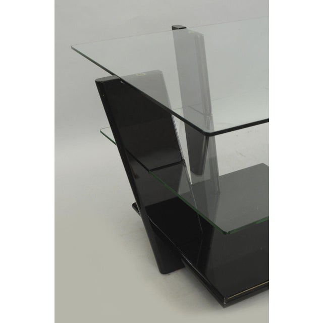 Black Pair of Contemporary Modern Black Lacquer & Glass 3 Tier End Tables Sculptural For Sale - Image 8 of 11