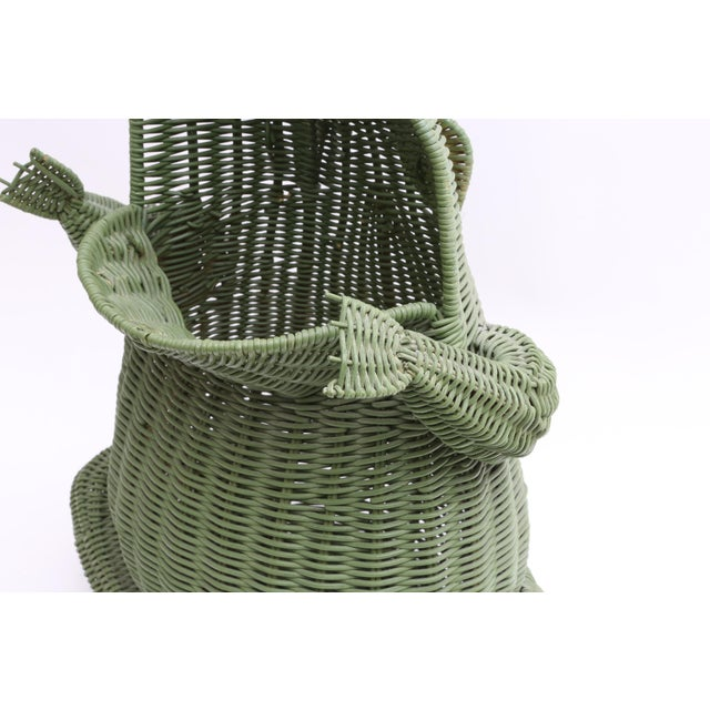 Mid Century Large Wicker Frog Basket For Sale In Los Angeles - Image 6 of 7