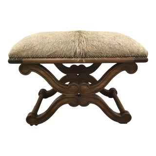 Celerie Kemble for Henredon Transitional Hair on Hide Wood Bench For Sale