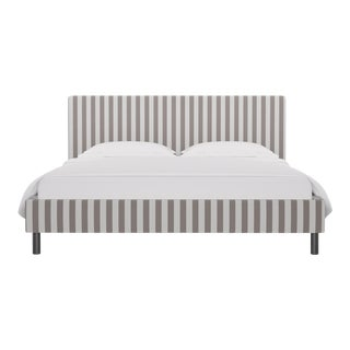 California King Tailored Platform Bed in Taupe Cabana Stripe For Sale