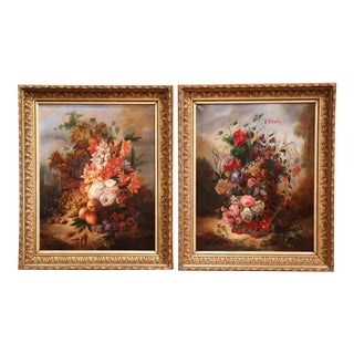 19th Century French Still Life Flower Paintings in Gilt Frames - a Pair For Sale