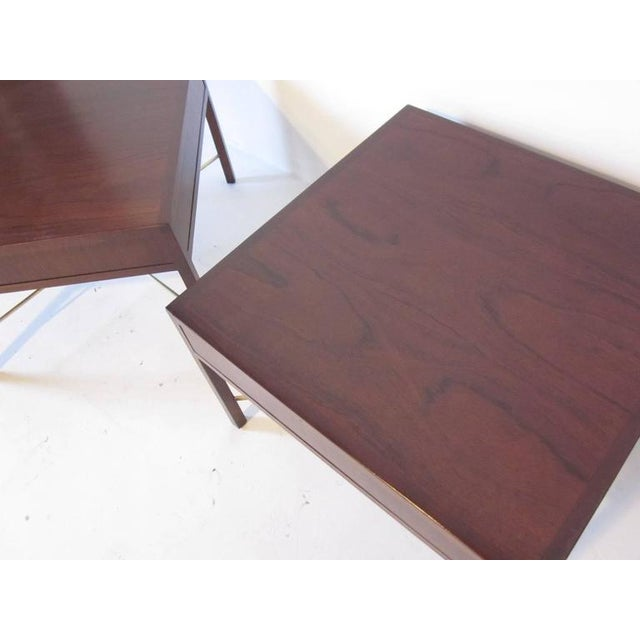 Rosewood and Brass End Tables - a pair For Sale In Cincinnati - Image 6 of 7