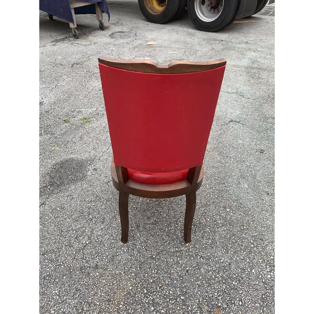 Red 1940s Vintage French Art Deco Solid Mahogany Dining Chairs - Set of 6 For Sale - Image 8 of 13