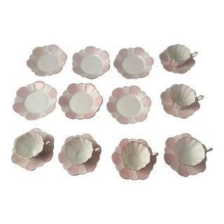 1960s Vintage Royal Stewart Spencer Stevenson Bone China Tea Cup Set - 18 Pieces For Sale