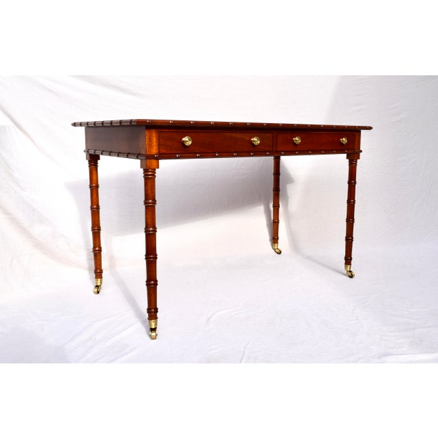 Asian Regency Faux Bamboo Writing Desk For Sale - Image 3 of 11