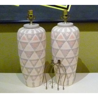 Pair Modern Geometric Motif Vase Form Pottery Table Lamps - No Shades. Preview