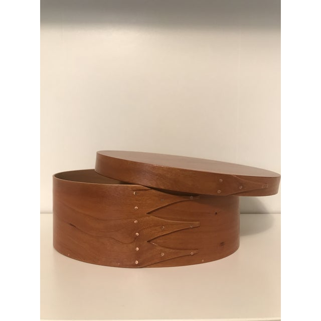 American Classical Shaker Oval Cherry Wood Box With Lid For Sale - Image 3 of 7