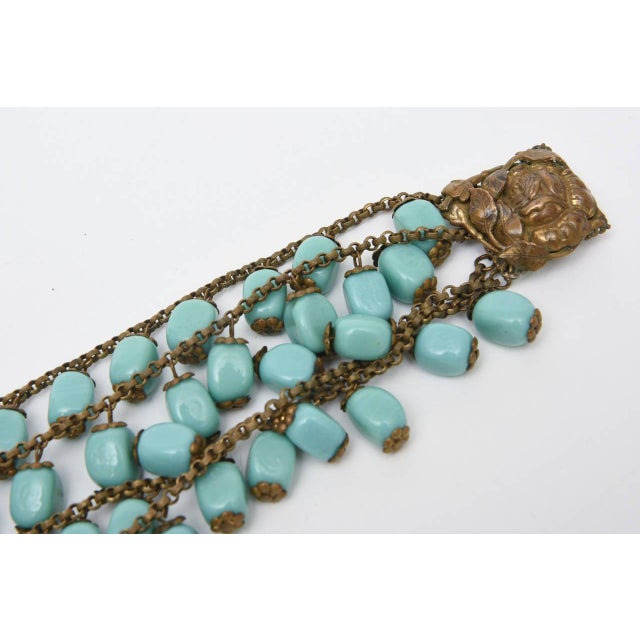 1940s Miriam Haskell Turquoise Glass Bead and Metal Bib Necklace Vintage For Sale - Image 5 of 9