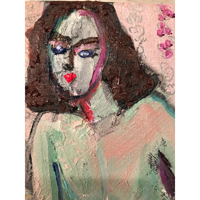 Modern Figure on Bench Painting by Jj Justice For Sale - Image 9 of 12