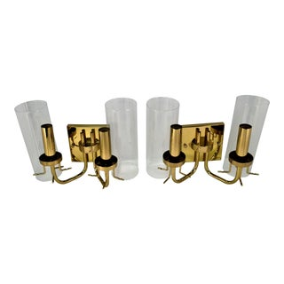 1990s Baldinger Brass 2-Arm Candelabra Sconces - A Pair For Sale