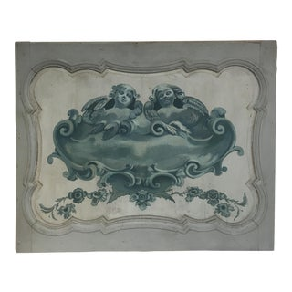 1900 Scandinavian Hand Painted Teal Cherub Panel For Sale