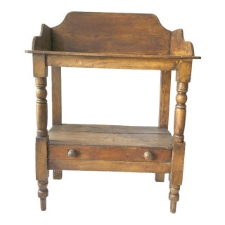 1930s Country Pine Wash Stand With Drawer For Sale