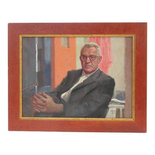 """Vintage C.1960 Signed and Dated Italian """"Mad Men"""" Style Businessman Acrylic Portrait Painting on Canvas For Sale"""
