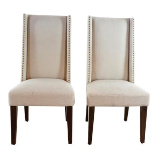 Modern West Elm Upholstered Beige Chairs- A Pair For Sale