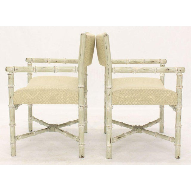 Pair of Distressed Finish Faux Bamboo Capitan Chairs With X Bases For Sale - Image 9 of 13