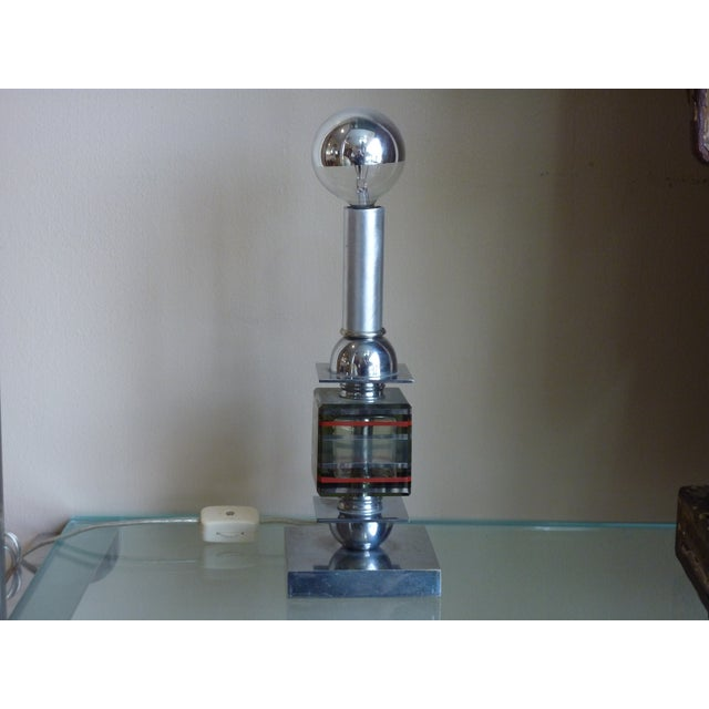 French Art Deco Chrome & Glass Mini Lamp - Image 2 of 5