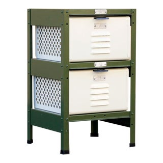 1 X 2 Locker Basket Unit in Army Green and Pearl, Custom Made to Order For Sale