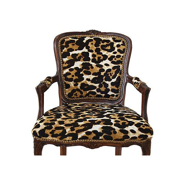 American Carved Armchair W/ Cowhide Animal Spots For Sale - Image 3 of 12