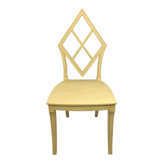 Vintage Soft Yellow Wooden Diamond Back Hall Chair For Sale