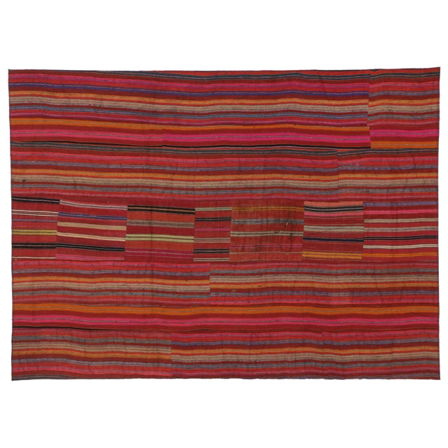 Modern Style Vintage Turkish Jajim Kilim Flat-Weave Rug With Colorful Stripes - 5′5″ × 7′6″ For Sale In Dallas - Image 6 of 6