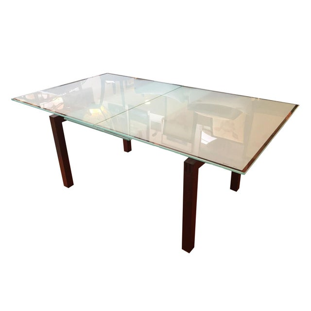 Calligaris Sandblasted Glass Extension Table - Image 1 of 9