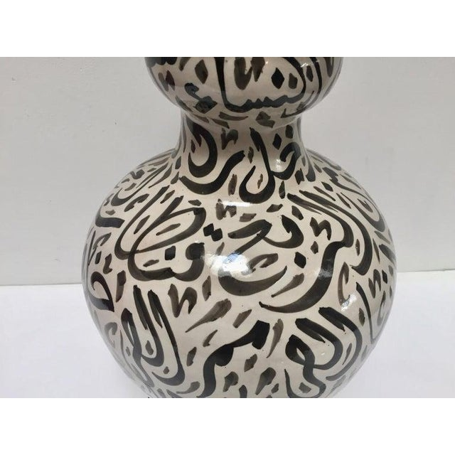 Islamic Large Moroccan Glazed Ceramic Vase With Arabic Calligraphy Black Writing Fez For Sale - Image 3 of 12