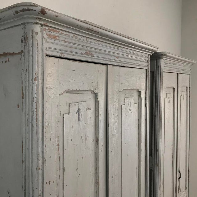 Wood Pair Antique Painted Wooden Locker Cabinets For Sale - Image 7 of 13
