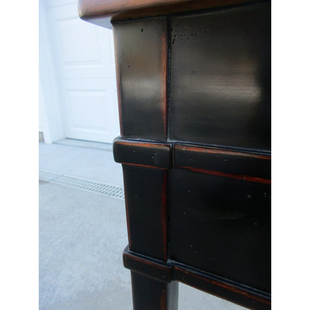 Metal Theodore Alexander Antiqued Black Lacquer Side Table For Sale - Image 7 of 13