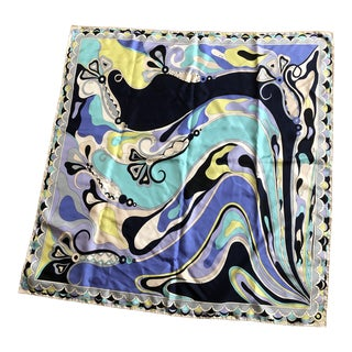 Vintage Emilio Pucci Abstract Silk Scarf For Sale