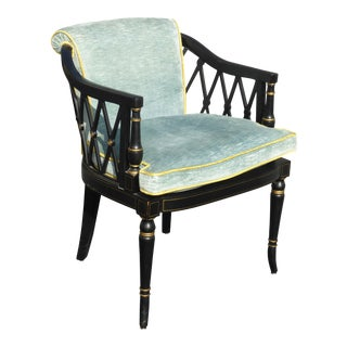 Vintage Chippendale Style French Hollywood Regency Blue Velvet Accent Chair For Sale