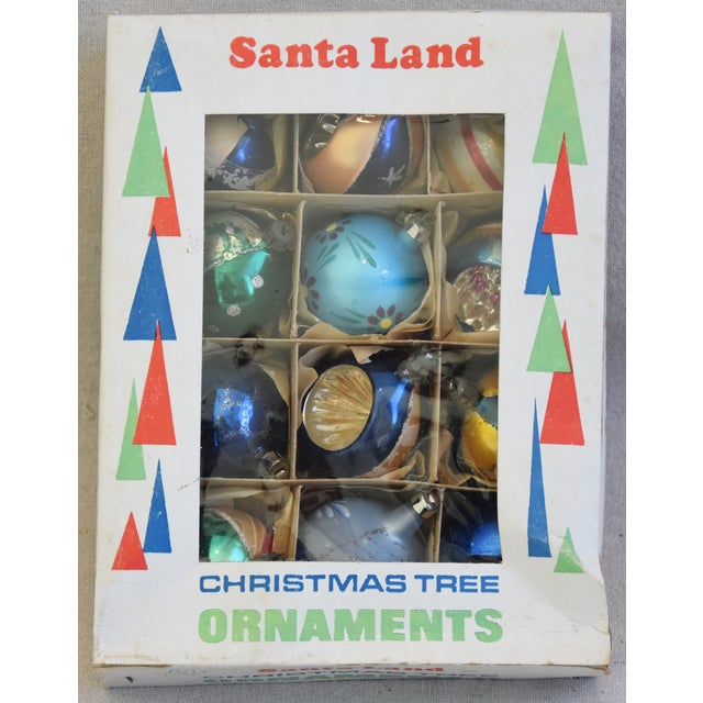 "Set of 12 vintage hand-decorated glass Christmas tree ornaments with box. No maker's mark. Ornaments, 2""Dia x 2.25""H; box,..."