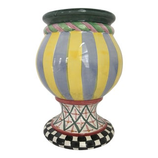 Vintage MacKenzie-Childs Hand Painted Taylor Urn/Planter For Sale