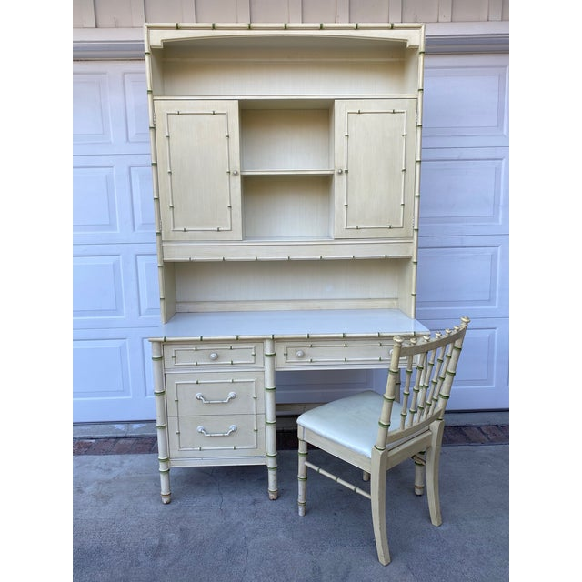 Antique White Thomasville Allegro Regency Style Faux Bamboo Writing Dest & Hutch With Chair For Sale - Image 8 of 8