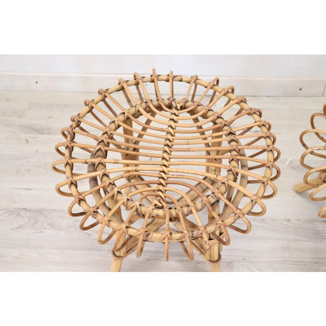 20th Century Italian Bamboo and Rattan Living Room Set of 4 Pieces, 1960s For Sale - Image 11 of 13