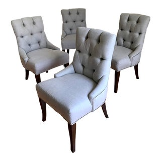 Linen & Alder Dining Chairs - Set of 4 For Sale