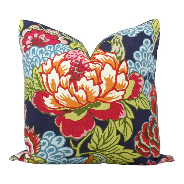 Blue and Pink Floral Decorative Pillow Cover in Thibaut Honshu For Sale