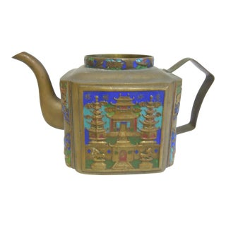 Vintage Chinese Tea Pot Enamel & Brass With Pagoda Scene